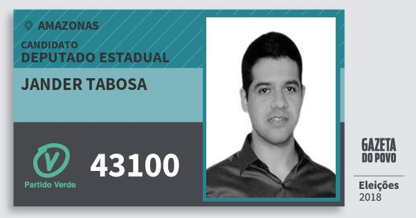 Santinho Jander Tabosa 43100 (PV) Deputado Estadual | Amazonas | Eleições 2018