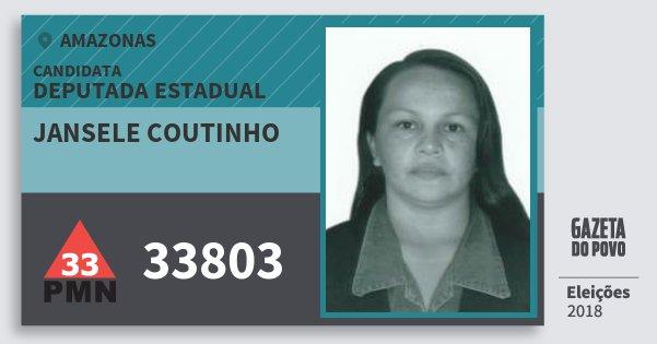 Santinho Jansele Coutinho 33803 (PMN) Deputada Estadual | Amazonas | Eleições 2018