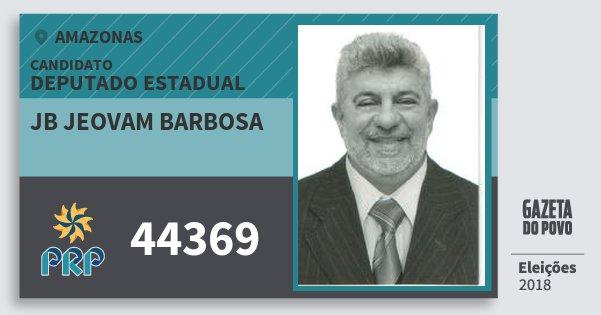 Santinho Jb Jeovam Barbosa 44369 (PRP) Deputado Estadual | Amazonas | Eleições 2018