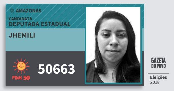 Santinho Jhemili 50663 (PSOL) Deputada Estadual | Amazonas | Eleições 2018