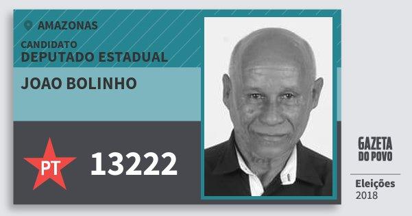 Santinho Joao Bolinho 13222 (PT) Deputado Estadual | Amazonas | Eleições 2018
