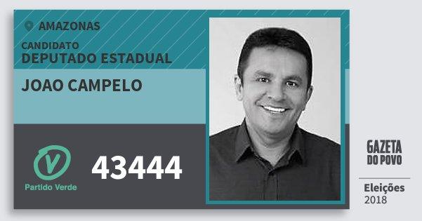 Santinho Joao Campelo 43444 (PV) Deputado Estadual | Amazonas | Eleições 2018