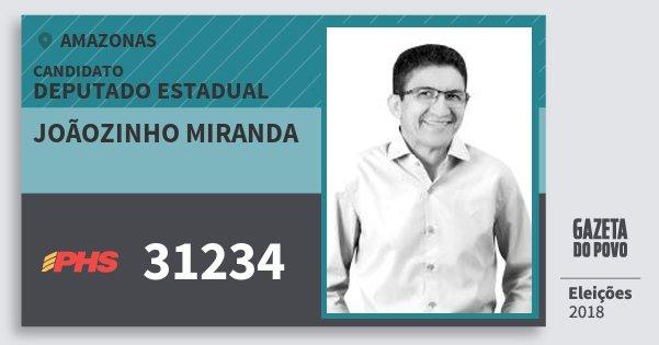 Santinho Joãozinho Miranda 31234 (PHS) Deputado Estadual   Amazonas   Eleições 2018