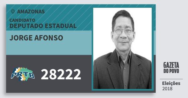 Santinho Jorge Afonso 28222 (PRTB) Deputado Estadual | Amazonas | Eleições 2018