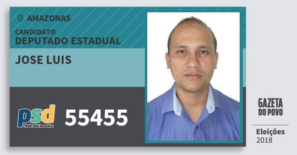 Santinho Jose Luis 55455 (PSD) Deputado Estadual | Amazonas | Eleições 2018