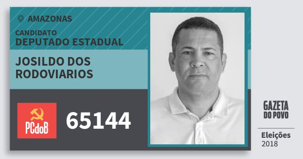 Santinho Josildo dos Rodoviarios 65144 (PC do B) Deputado Estadual | Amazonas | Eleições 2018