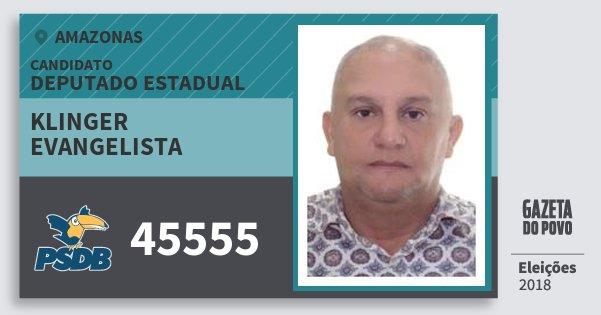 Santinho Klinger Evangelista 45555 (PSDB) Deputado Estadual | Amazonas | Eleições 2018