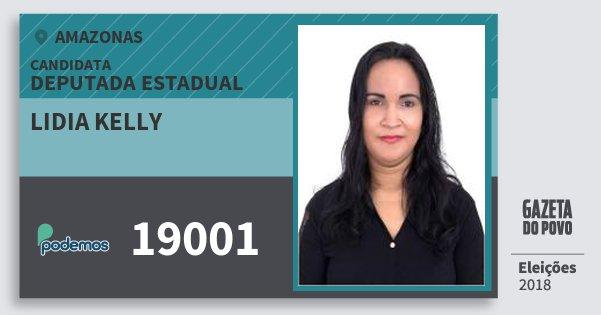 Santinho Lidia Kelly 19001 (PODE) Deputada Estadual | Amazonas | Eleições 2018