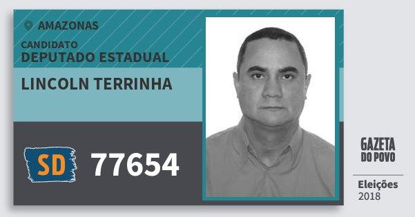 Santinho Lincoln Terrinha 77654 (SOLIDARIEDADE) Deputado Estadual | Amazonas | Eleições 2018