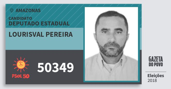 Santinho Lourisval Pereira 50349 (PSOL) Deputado Estadual | Amazonas | Eleições 2018