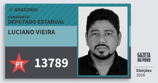 Santinho Luciano Vieira 13789 (PT) Deputado Estadual   Amazonas   Eleições 2018