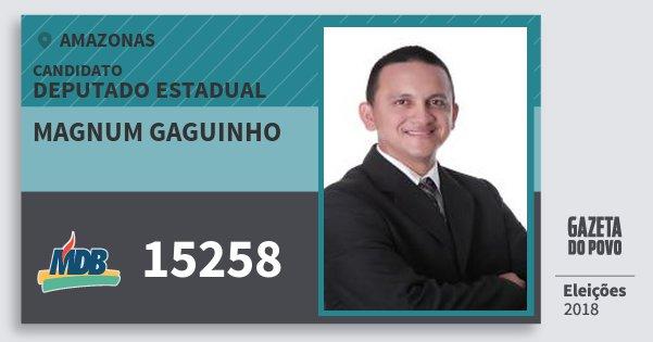 Santinho Magnum Gaguinho 15258 (MDB) Deputado Estadual | Amazonas | Eleições 2018