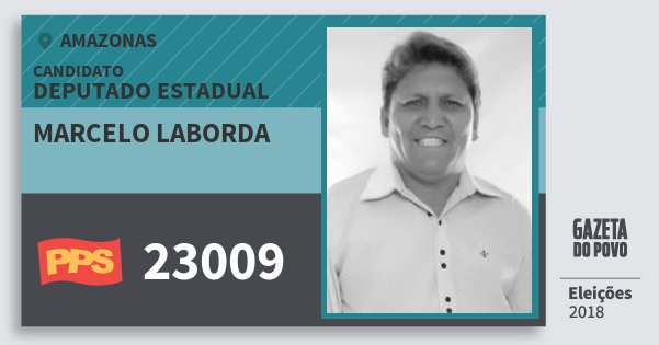 Santinho Marcelo Laborda 23009 (PPS) Deputado Estadual | Amazonas | Eleições 2018