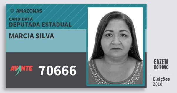 Santinho Marcia Silva 70666 (AVANTE) Deputada Estadual | Amazonas | Eleições 2018