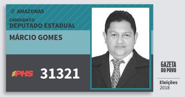 Santinho Márcio Gomes 31321 (PHS) Deputado Estadual | Amazonas | Eleições 2018