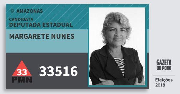 Santinho Margarete Nunes 33516 (PMN) Deputada Estadual | Amazonas | Eleições 2018
