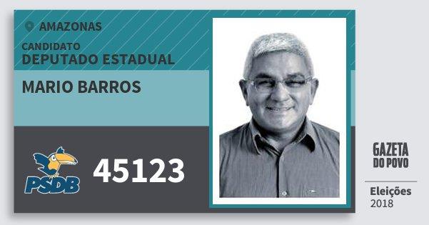 Santinho Mario Barros 45123 (PSDB) Deputado Estadual | Amazonas | Eleições 2018