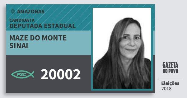 Santinho Maze do Monte Sinai 20002 (PSC) Deputada Estadual | Amazonas | Eleições 2018