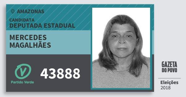 Santinho Mercedes Magalhães 43888 (PV) Deputada Estadual | Amazonas | Eleições 2018