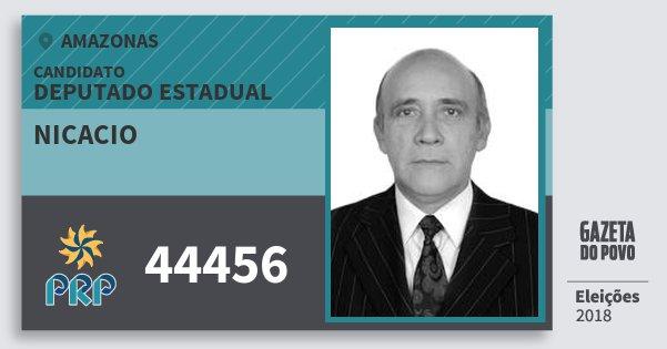 Santinho Nicacio 44456 (PRP) Deputado Estadual   Amazonas   Eleições 2018