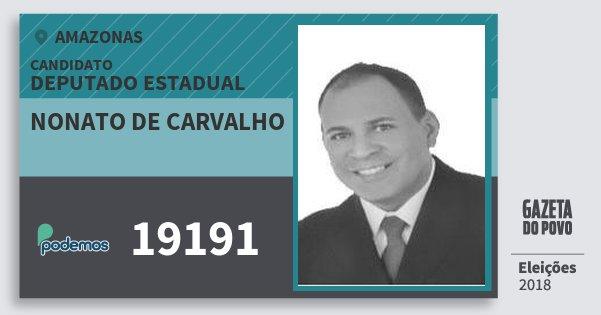 Santinho Nonato de Carvalho 19191 (PODE) Deputado Estadual | Amazonas | Eleições 2018