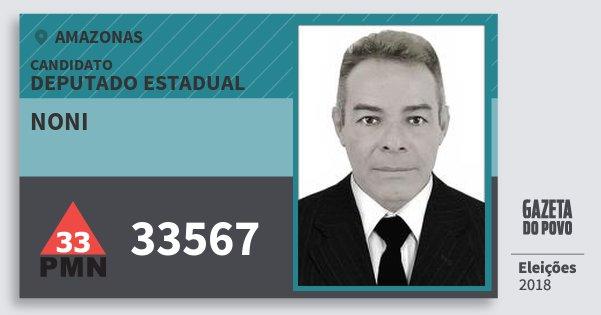 Santinho Noni 33567 (PMN) Deputado Estadual | Amazonas | Eleições 2018