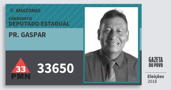 Santinho Pr. Gaspar 33650 (PMN) Deputado Estadual | Amazonas | Eleições 2018