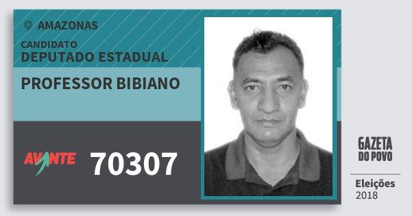 Santinho Professor Bibiano 70307 (AVANTE) Deputado Estadual | Amazonas | Eleições 2018