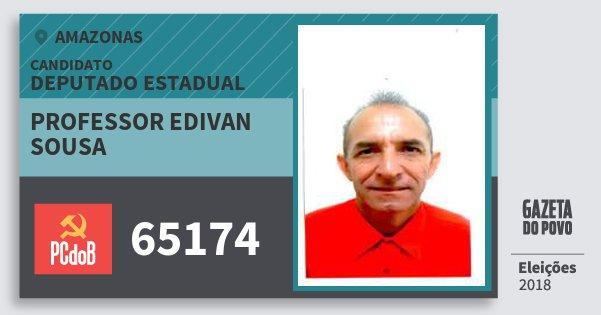 Santinho Professor Edivan Sousa 65174 (PC do B) Deputado Estadual | Amazonas | Eleições 2018