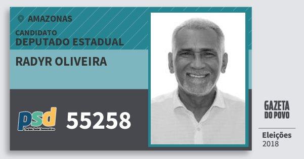 Santinho Radyr Oliveira 55258 (PSD) Deputado Estadual | Amazonas | Eleições 2018