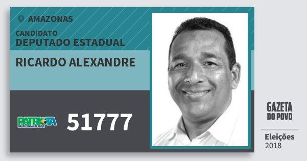 Santinho Ricardo Alexandre 51777 (PATRI) Deputado Estadual | Amazonas | Eleições 2018