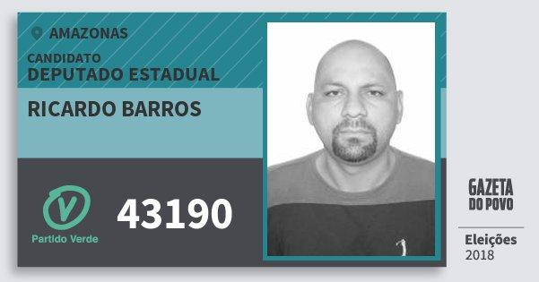 Santinho Ricardo Barros 43190 (PV) Deputado Estadual | Amazonas | Eleições 2018