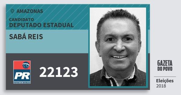 Santinho Sabá Reis 22123 (PR) Deputado Estadual | Amazonas | Eleições 2018