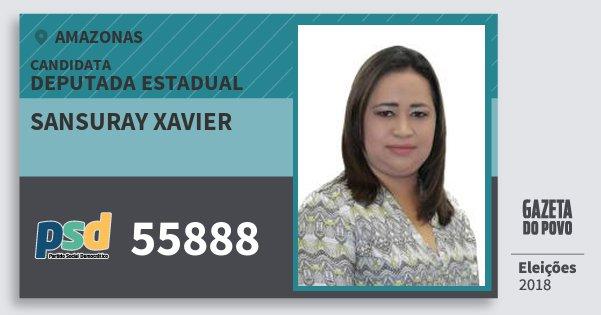 Santinho Sansuray Xavier 55888 (PSD) Deputada Estadual | Amazonas | Eleições 2018