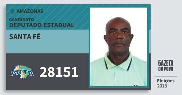 Santinho Santa Fé 28151 (PRTB) Deputado Estadual | Amazonas | Eleições 2018