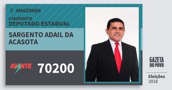 Santinho Sargento Adail da Acasota 70200 (AVANTE) Deputado Estadual | Amazonas | Eleições 2018