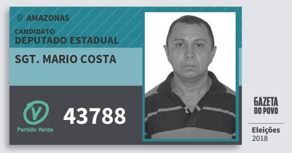 Santinho Sgt. Mario Costa 43788 (PV) Deputado Estadual | Amazonas | Eleições 2018