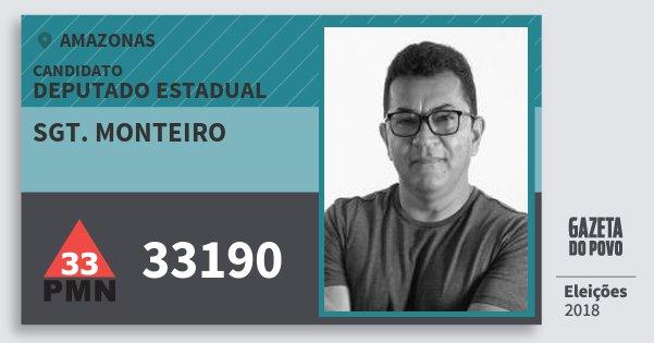 Santinho Sgt. Monteiro 33190 (PMN) Deputado Estadual | Amazonas | Eleições 2018