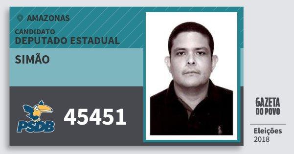 Santinho Simão 45451 (PSDB) Deputado Estadual | Amazonas | Eleições 2018