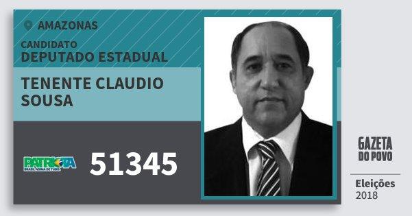 Santinho Tenente Claudio Sousa 51345 (PATRI) Deputado Estadual | Amazonas | Eleições 2018