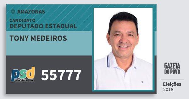 Santinho Tony Medeiros 55777 (PSD) Deputado Estadual | Amazonas | Eleições 2018