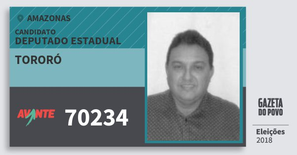 Santinho Tororó 70234 (AVANTE) Deputado Estadual | Amazonas | Eleições 2018
