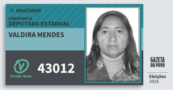 Santinho Valdira Mendes 43012 (PV) Deputada Estadual | Amazonas | Eleições 2018