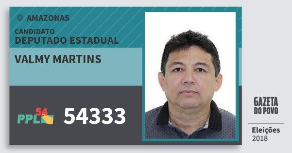 Santinho Valmy Martins 54333 (PPL) Deputado Estadual | Amazonas | Eleições 2018