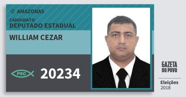 Santinho William Cezar 20234 (PSC) Deputado Estadual | Amazonas | Eleições 2018