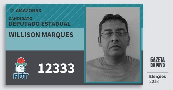 Santinho Willison Marques 12333 (PDT) Deputado Estadual | Amazonas | Eleições 2018
