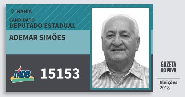 Santinho Ademar Simões 15153 (MDB) Deputado Estadual | Bahia | Eleições 2018