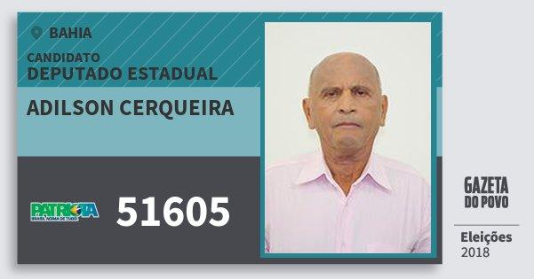 Santinho Adilson Cerqueira 51605 (PATRI) Deputado Estadual | Bahia | Eleições 2018