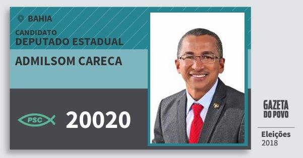 Santinho Admilsom Careca 20020 (PSC) Deputado Estadual | Bahia | Eleições 2018