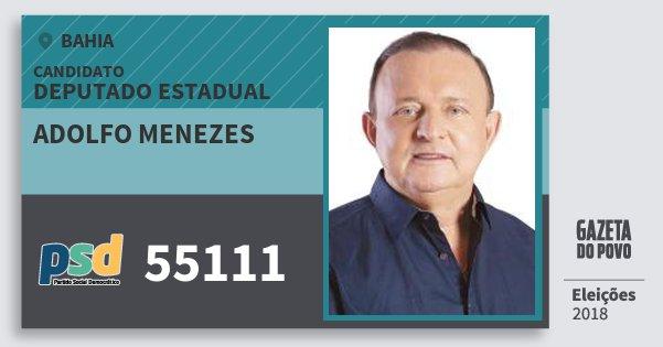 Santinho Adolfo Menezes 55111 (PSD) Deputado Estadual | Bahia | Eleições 2018